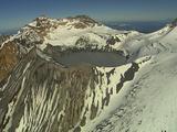 Snowy & Rocky Mountain Ridge In Summer, Frozen Crater Lake