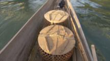 Baskets In Boat Containing Birds Used For Traditional Cormorant Fishing In Japan