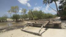 Traditional Fishing Boat With Outrigger,On Beach