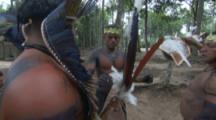 Amazon Bullet Ant Ritual,elders put ant gloves on young man,he shows sign of pain