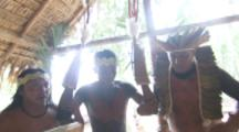 Amazon Bullet Ant Ritual,men dance with young man wearing ant gloves,focus on feet