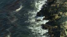 Looking Down On Rugged Coastline,Tierra Del Fuego