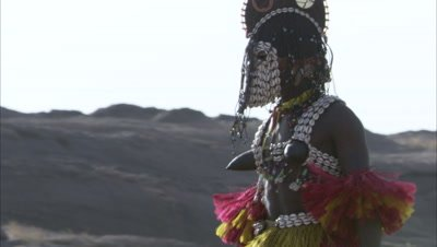 Dogon People Performing Traditional Dama Ceremony, rite of Passage
