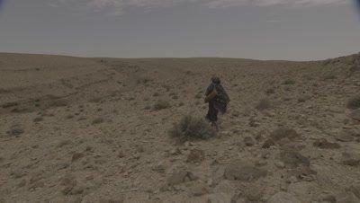 Camel Herding,Man Walks in Desert