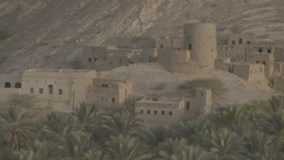 Overlooking Old City at Date Plantation in Nizwa,Oman