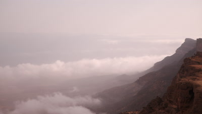 Time Lapse Clouds Moving Below Jebel Samhan Mountains