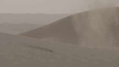 Wind Blows Sand Across Desert Dunes