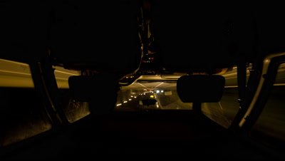 POV Time Lapse,Driving on Motorway,Highway,at Night,View from Backseat through windshield