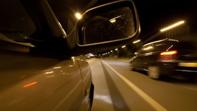 POV Time Lapse,Driving on Motorway,Highway,at Night,View includes side mirror