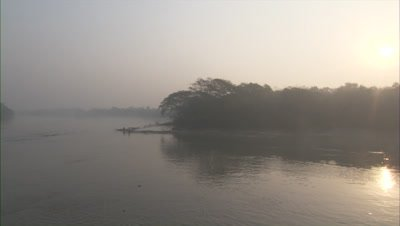 Wide View of Misty River