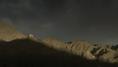 Shadow on Barren Mountain,Namgyal Tsemo Gompa and Fort