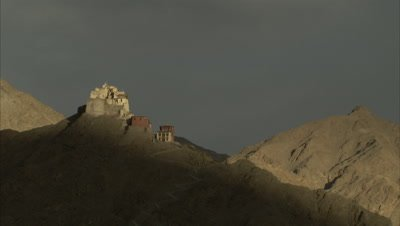 Time Lapse,Shadow Moves Across Barren Mountain,Shadow on Barren Mountain,Namgyal Tsemo Gompa and Fort