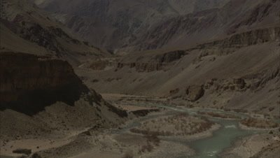 Himalayan Landscape,Snow-capped Mountains and River