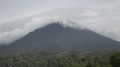 Time lapse of clouds billowing over the mountains of Tangkoko National Park