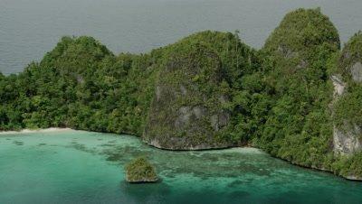 Limestone atoll landscape of Wayag and surrounding small islands