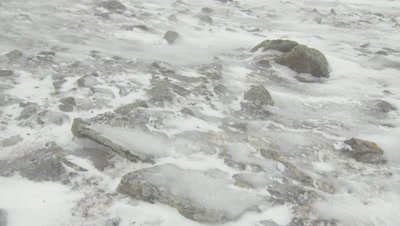 Close shot of ice on the frozen, rocky ground