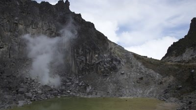 Timelapse of the crater lake and a steam vent at the peak of the Sibayak volcano