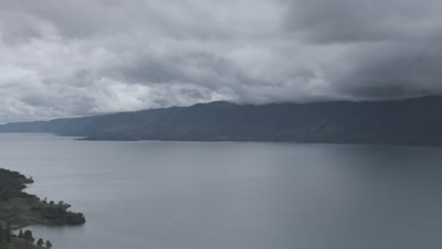 Time lapse of rainclouds gathering over Lake Toba
