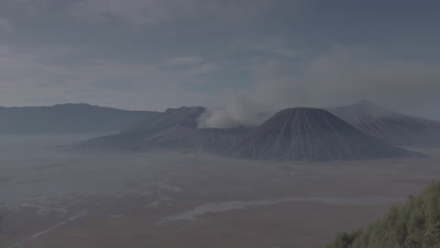 Scenic view of active volcano Mount Bromo and the Tengger Caldera