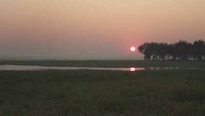 Sunset over a floodplain at Gorongosa National Park