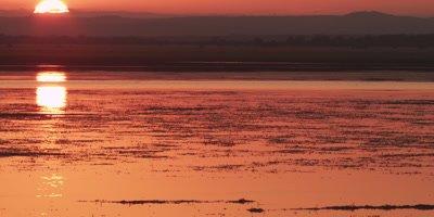 Sunset over a river at Gorongosa National Park