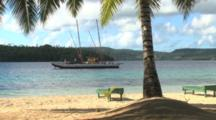 Beach Scenic With Palm Tree And Boat In Background