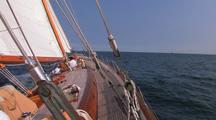 Large Ketch Sailing Upwind Taken From The Bow.
