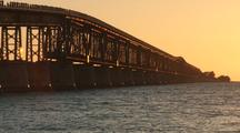 Florida Keys Old Railroad Bridge At Sunset