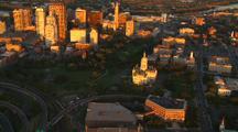 Aerial Hartford Ct Skyline At Sunset