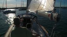 Onboard Sailing Into Sunset