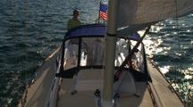 Onboard Downwind Sailing Looking Aft