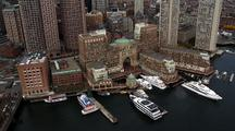Boston Waterfront With Boats From Above
