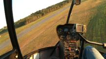 Helicopter Looking Out The Windshield During Landing