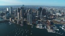 Fly Over Downtown Boston And Harbor Front