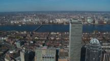 Fly Over Downtown Boston And Charles River