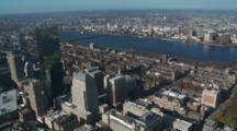 Fly Over Boston Skyline