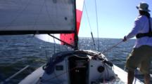 Sailing Down Wind Single Handed Trimming Looking Forward