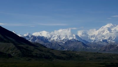 Denali,Mount McKinley on a fine day. Pan