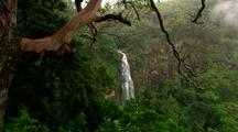 Overlook View Of Waterfall In Rainforest