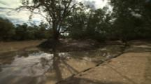 Very Wide Panorama Of Outback Landscape With Watering Hole
