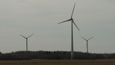 Horizontal-axis wind turbines on a wind farm