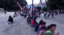 People In Main Park In Oaxaca, Mexico