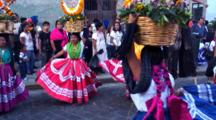 Parade Of Dancers In Costumes, Colorful Skirts--Oaxaca, Mexico