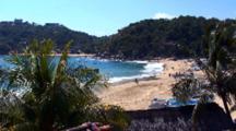 Pan From Above Playa Principal Bay And Beach Scene, Puerto Angel, Mexico