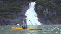 Kayaker Passes Nugget Creek Flowing Into Mendenhall Lake