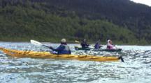 Kayaker Encounters Canoe Paddling Mendenhall Lake