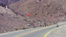 Climb To Los Libertadores Pass, Bicyclists Coming Down