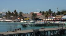Waterfront, Leeward Side Isla Mujeres, Pan To Passengers On Ferry--Quintana Roo, Mexico