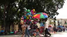 Plaza Central, Oaxaca, Mx, People Walking Thru, Balloon(Globo)Salesman