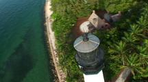 Flight To And Around Lighthouse And Look Down At Keeper's House